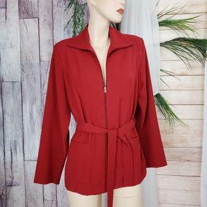 CLIO Red / Maroon Blazer Zip Up Jacket Petite Lrg